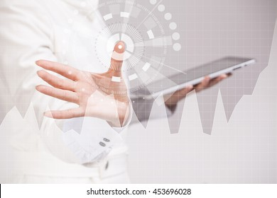 Female hand working with graph chart. Future technologies for busines, stock market concept.