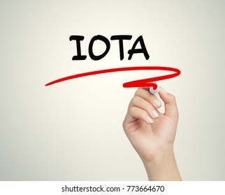 female hand writing iota message and underlining with marker on transparent board