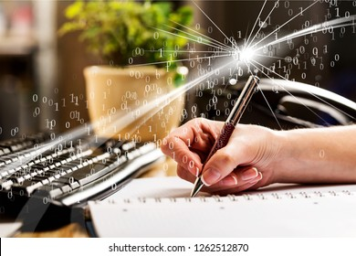 Female hand writting report at office workplace