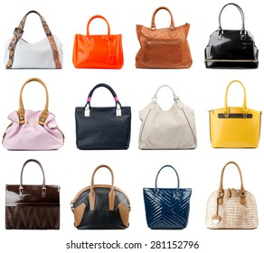 Female handbags collection isolated on white background.