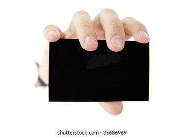 A female hande is holding a black blank business card