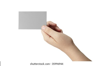 A female hande is holding a gray blank business card