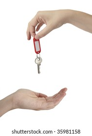 A female is handing over the keys on a white background