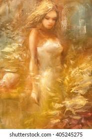 Female , handmade painting