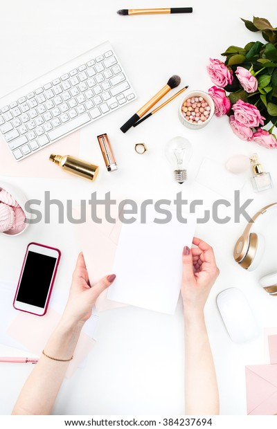 The female hands against fashion woman objects