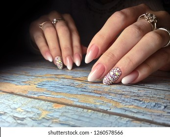 Female hands with beautiful nail polish. Nail art manicure.