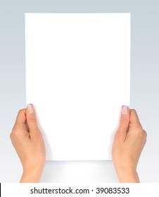 Female hands with blank  paper message reading looking at paper isolated with clipping path