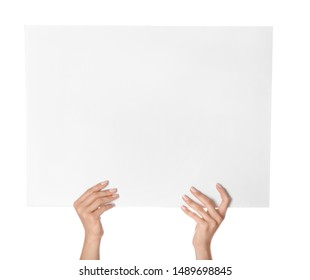 Female hands with blank poster on white background