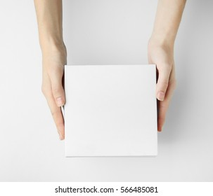 Female hands with box on white background