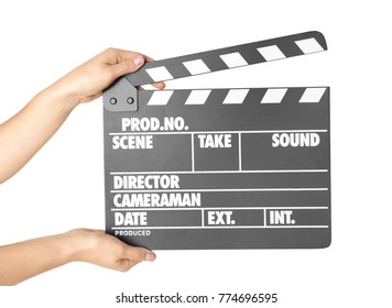 Female hands with clapperboard against white background