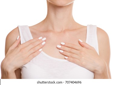 Female hands clavicle isolated on white background isolation