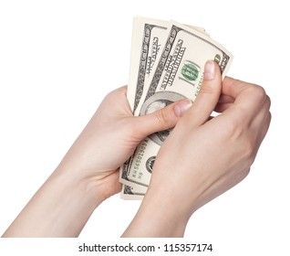 Female hands counting money, isolated on white background