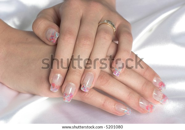 Female hands displaying beautiful polished nails