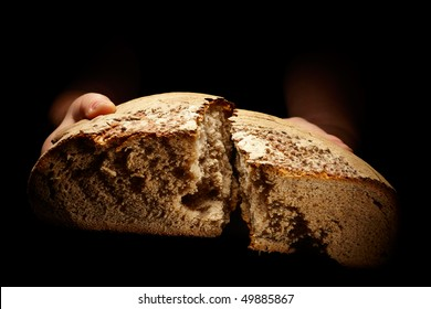 female hands dividing a brown loaf of bread isolated on black