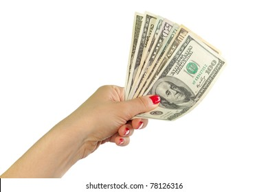 female hands with dollars isolated on a white
