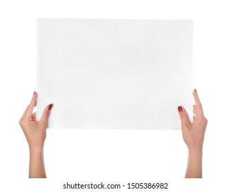 Female hands with empty sheet of paper on white background