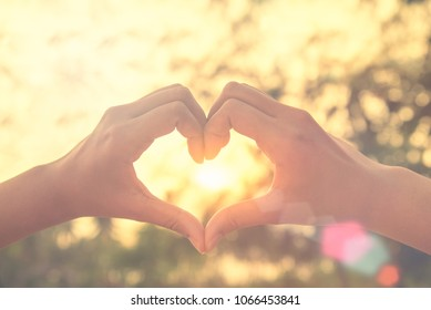 Female hands in the form of heart against sunlight in sunset sky