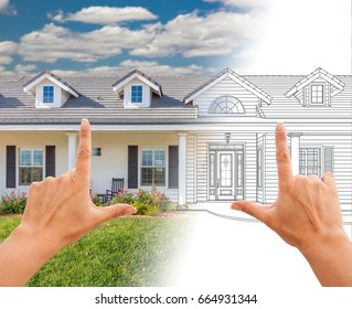 Female Hands Framing House Drawing Gradating Into Photograph.