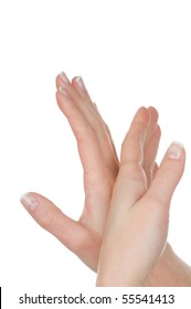 Female hands with french manicure isolated on white background