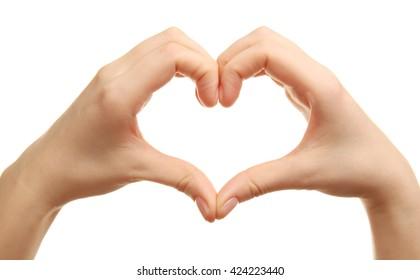Female hands in heart shape on white background