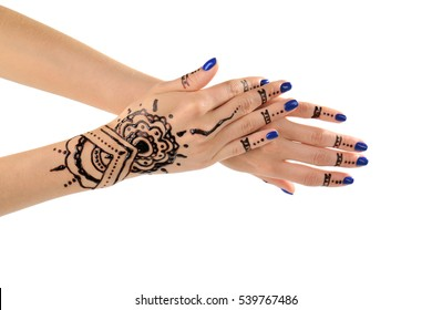 Female hands with henna tattoo, isolated on white
