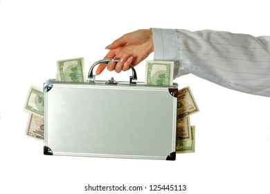 female hands hold a case with money