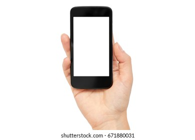 Female hands hold a cell phone, mockup template. Isolated on white background