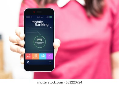 Female hands hold mobile banking on smart phone,high key