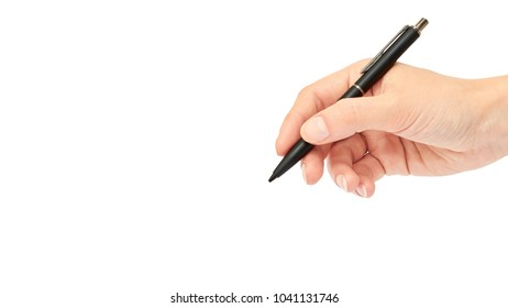 Female hands hold a pen. Isolated on white background. copy space, template.