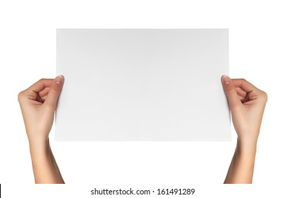 female hands hold white paper isolated