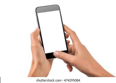 Female hands holding black cellphone with white screen at isolated background.