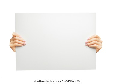 Female hands holding blank white poster, copy-space and mockup.