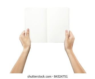 Female hands holding a blank white notebook.Isolated on a white background