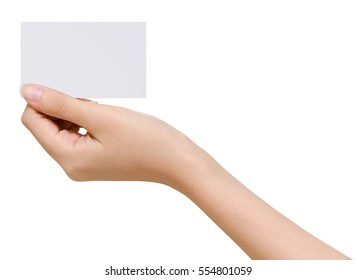 Female hands holding business card