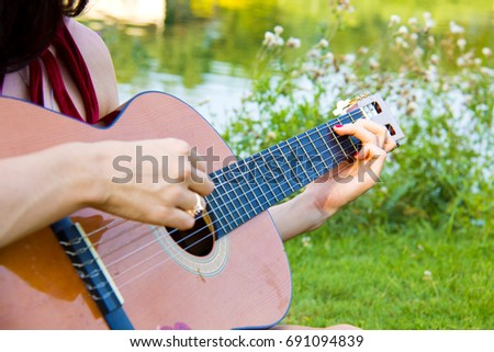 Female Hands Holding Chords Playing Guitar Stock Photo (Edit Now ...