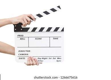 Female hands holding a clapboard on white background. Slate movie