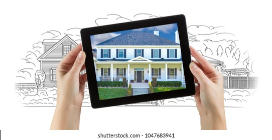 Female Hands Holding Computer Tablet with House Photo on Screen & Drawing Behind.