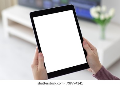 female hands holding computer tablet with isolated screen in the room