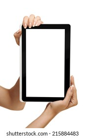 female hands holding digital tablet on a white background