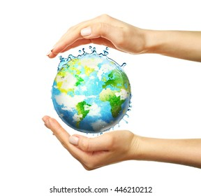 Female hands holding globe isolated on white
