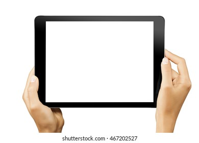 Female hands holding horizontal black tablet with white screen isolated at white background.