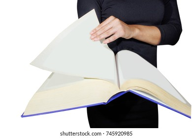 Female hands holding a large book isolated on white background a woman reading