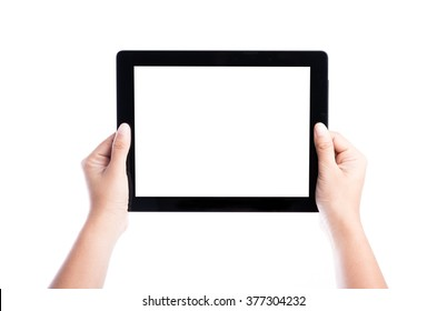female hands holding tablet computer with isolated screen and background