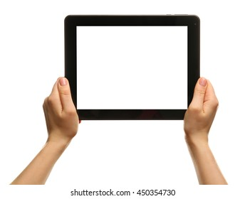 Female hands holding tablet isolated on white
