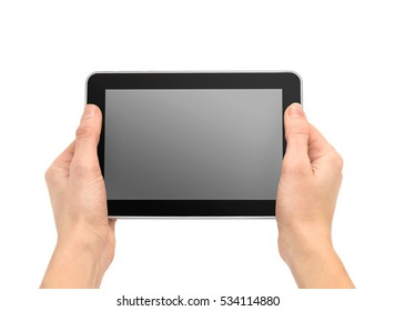 Female hands holding tablet PC with blank screen. Isolated on white background.