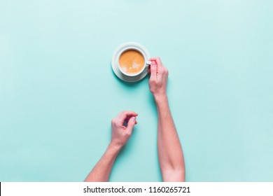 Female Hands Holds Fresh Cup Coffee Color Blue Background Top View Flat Lay Unhealthy Food One Object