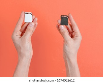 Female hands holds two SD memory cards on orange background. Minimalist Techno Concept. Top view