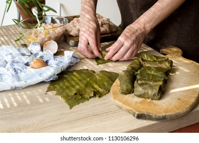Female hands are housewives, which spin into the grape leaves (rolls) stuffing. Homemade food. Dolma
