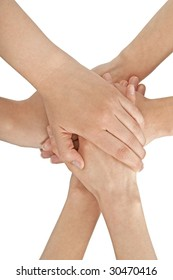 Female hands joined together, isolated on white.