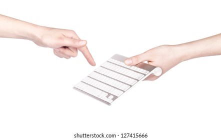 Female hands and keyboard isolated on a white